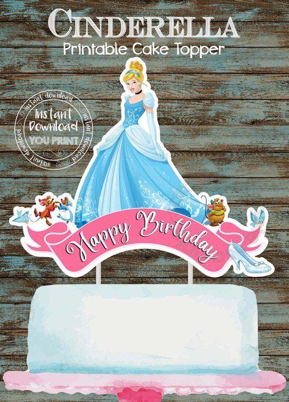 Awesome Printable Cinderella Cake Topper Cinderella Centerpiece Birthday Cards Printable Inklcafe Filternl