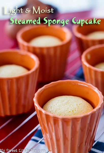 Here is an easy steamed sponge cupcake recipe. They are light and moist and great for breakfast or afternoon treat. #spongecupcake #easycakerecipe