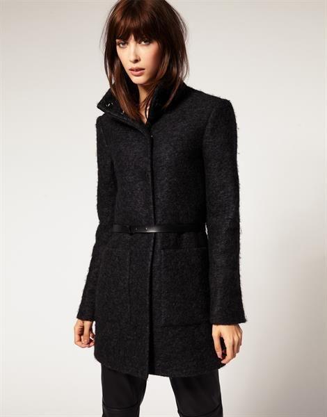 Купить серое женское пальто