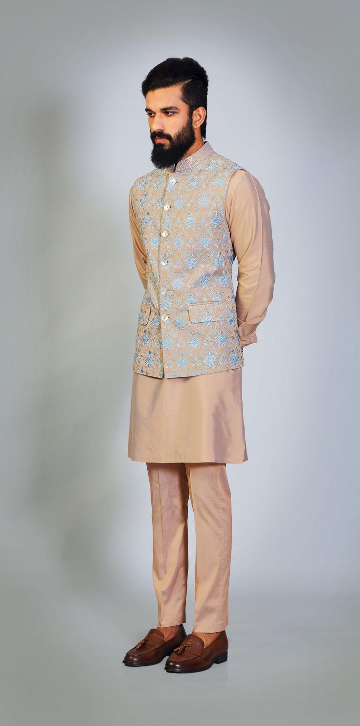 Peach #iceblue #lotus #embroidery #texture #sadri #kurta #payjama #monotone #sangeet #mehndi #fun