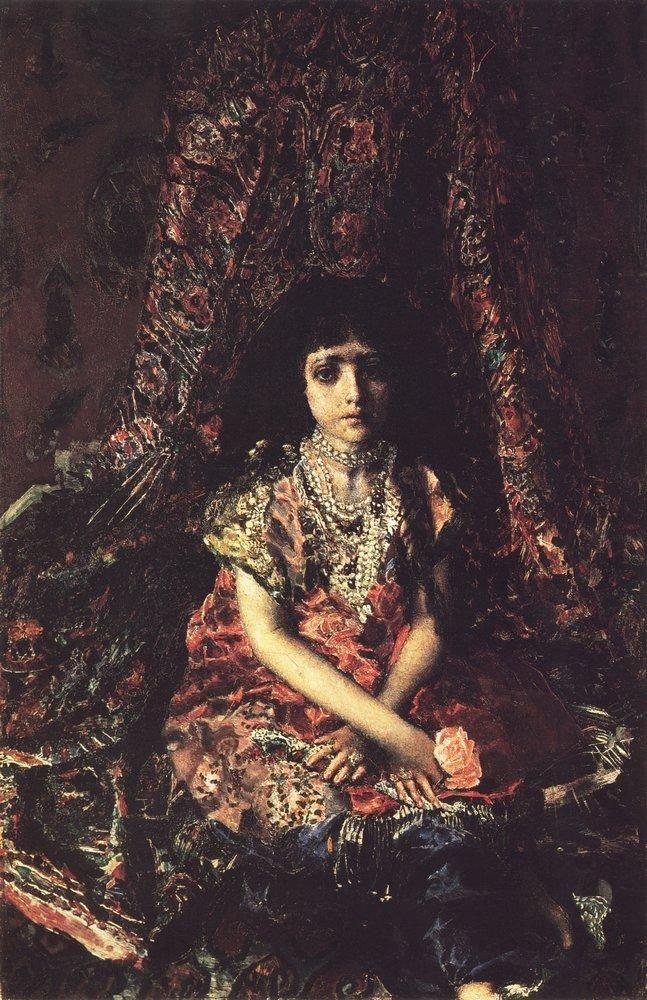 М.А.Врубель - Девочка на фоне персидского ковра. 1886