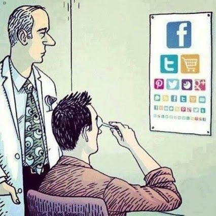 Social Media Humor | Social Media Eye Test | From Funny Technology - Community - Google+ vai Sean Mannigan | #toofunny