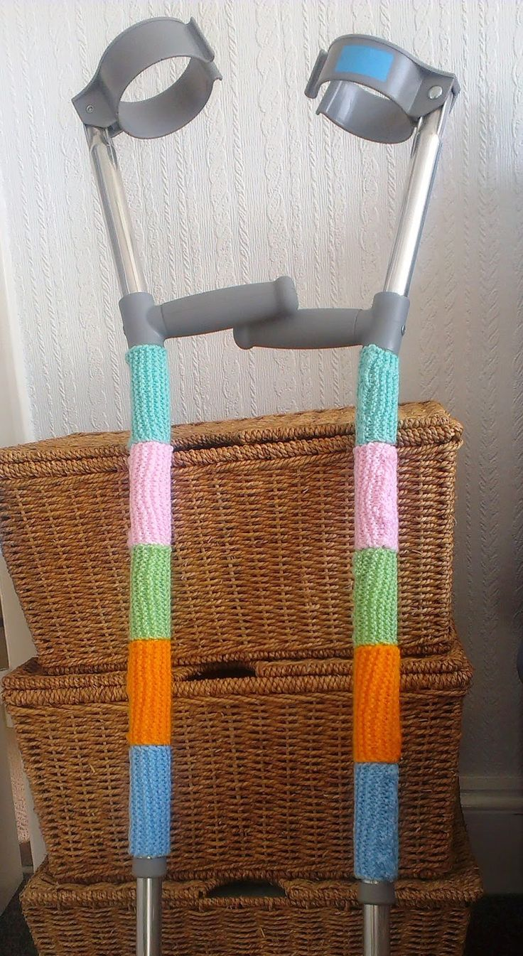 Decorated crutches...can also use  decorative duct