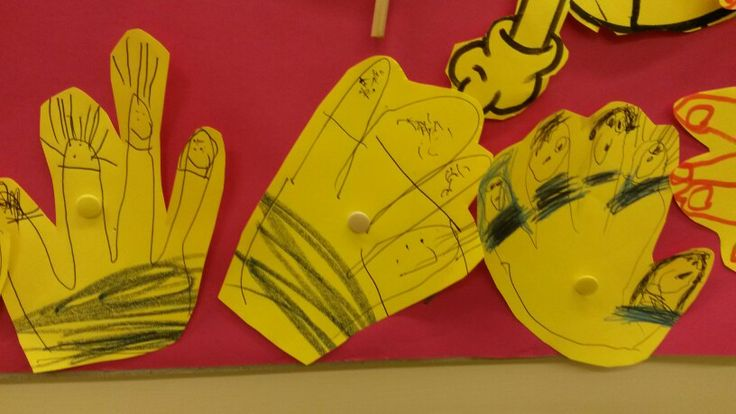 Minion cluster.  Draw around the hand and add eyes, hair and various facial expressions.