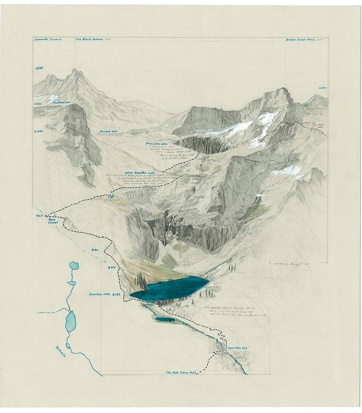 Kaweah Headwaters - Valhalla. Graphite, pen Matthew Range