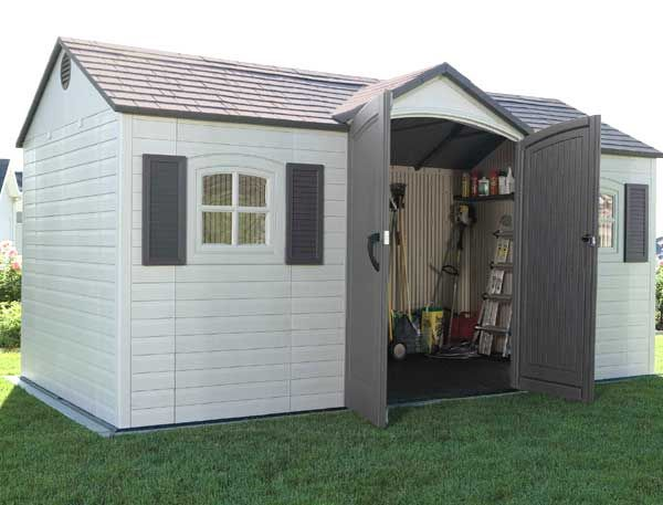 The double skinned walls and 6ft (1.8m) high extra high eaves these plastic sheds for sale are the next step in stylish living. The rounded effect on the top of the double doors make this shed stand out from the crowd and the attractive Georgian windows add to the charm. Designed to be weather and stain resistant this garden shed will not show signs of getting old for a very long time. The Steel Internal Frames Makes These Garden Sheds Strong