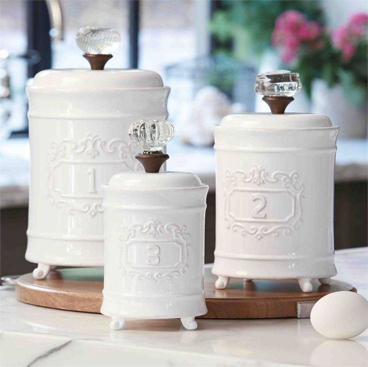 White Ceramic Canister Set Kitchen Choosing Addison Canisters Traditional