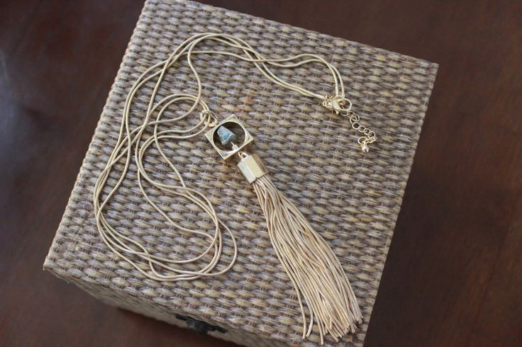 Stitch Fix stylist: love this necklace!  Please include it in my next fix. Stitch Fix February 2016 Romolo Canon Pyrite Tassel Necklace