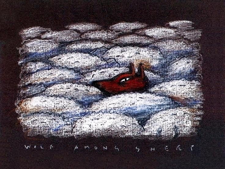 Wolf among sheep. Ilustración de Juan Botas. Año 1986