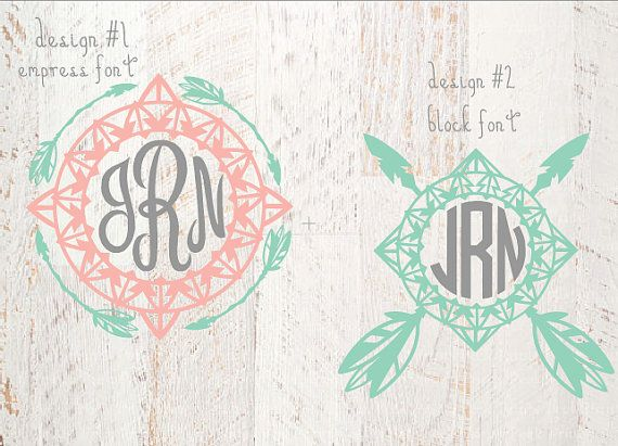 Boho Monogram decal Boho  feather monogram by JamsVinylDesigns