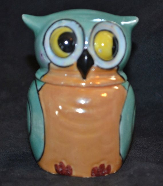 """This is a small owl lusterware jam jar made by Takito Company.  1930's -1940's.  Could be used as a small sugar bowl.  Still has spoon, although it has small nips on sides.  It is in good condition with a little wear from age.  Colours of blue/green and peach.  8.3cm (3 1/4"""") tall with lid.  Bowl is 5.1cm (2"""") tall and 5.1cm (2"""") in diameter.   Shop this product here: https://spreesy.com/collectitorium/79   Shop all of our products at https://spreesy.com/collectitorium      Pinterest selling…"""