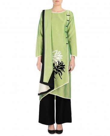 Fern Green Palazzo Suit with Floral Applique