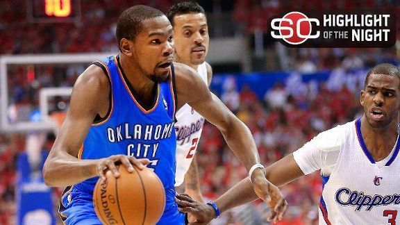 Actions speak volumes for KD, OKC - ESPN news article outlining series between Clippers and Thunder to advance to playoffs for western league title May 2014 #35 #kd #nba #okcthunder #thunder #kevindurant