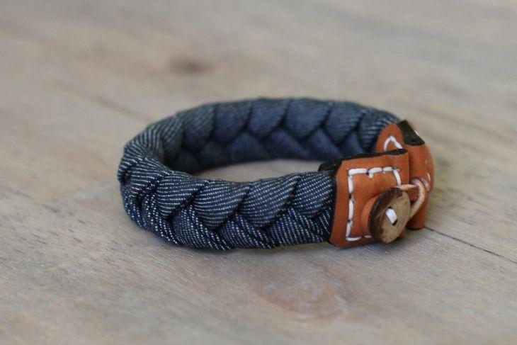 Джинсово - кожаные браслеты (подборка)