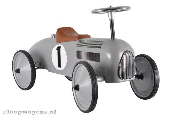 Retro Racers Retro loopauto zilvergrijs   Loopwagens.nl