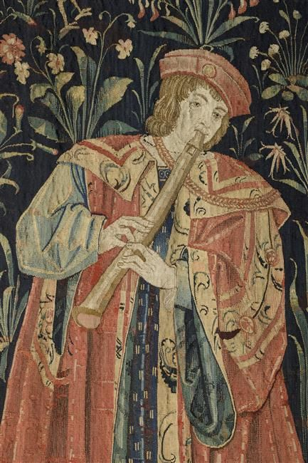 """Tapestry """"Le Concert"""" (detail) - Paris, musée du Louvre."""