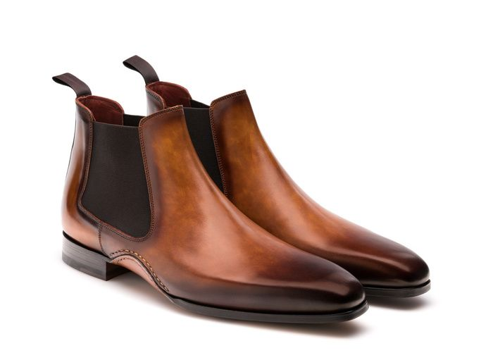 Brown Men Calfskin Painted Magnanni For Boots Chelsea Hand Bw715xT5