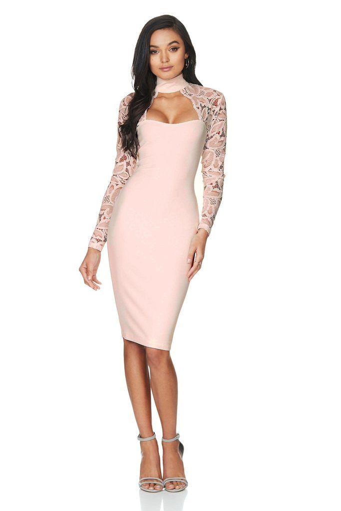 stella nude lace long sleeved dress