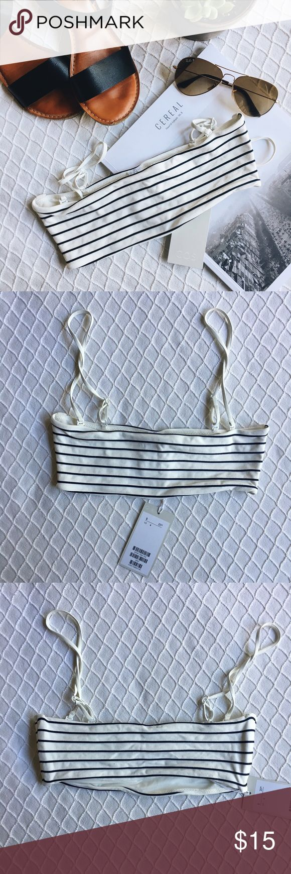 """COS Striped Bandeau Bikini Top Really adorable NWT bikini top with removable straps. This is marked as a 6, but I ordered it and it's quite small on me—about 11"""" wide laying flat. Is say it would better fit someone who is a large A or a small B. Never worn, just tried on. Stripes are a very, very dark navy, I believe 🖤 COS Swim Bikinis"""
