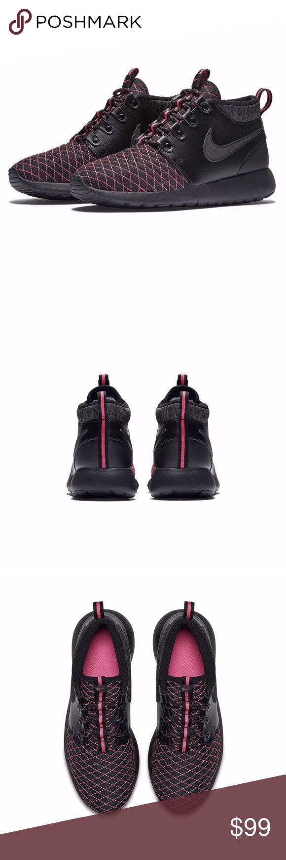 NIKE ROSHE ONE MID WINTER Womens Sz 8.5 Kid 7Y NIKE ROSHE ONE MID WINTER   STYLE 807576 001 Brand New with out Box Size: 7Y (equivalent to women's US 8.5)/UK 6/CM 25/EUR 40 Colors: Black/Pink Pow BRAND NEW NEVER WORN 100% AUTHENTIC! Nike Shoes Boots