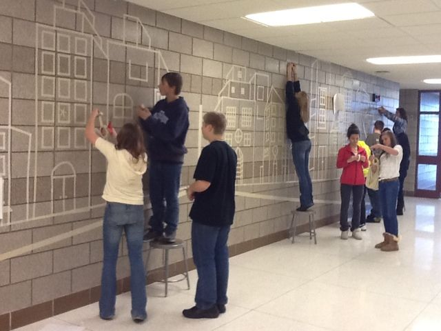 """Art at Becker Middle School: Search results for perspective Using masking tape to make wall size perspective """"drawing!"""""""