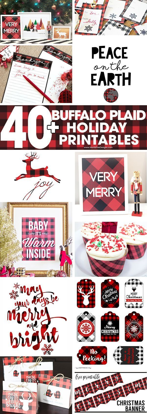 A collection of 40+ Buffalo Check Plaid Free Printables to help you decorate, organize and more for the Christmas Holiday Season. #buffaloplaid #christmas #freeprintables