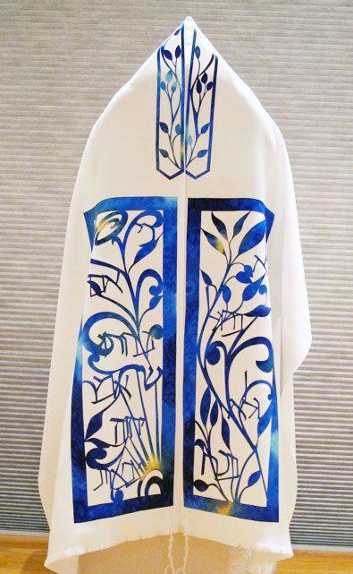 Tallit B'ha-alot'kha   Judaic Art Studio Designed by Leah Sosewitz and fabricated by Marsha Kasanov.