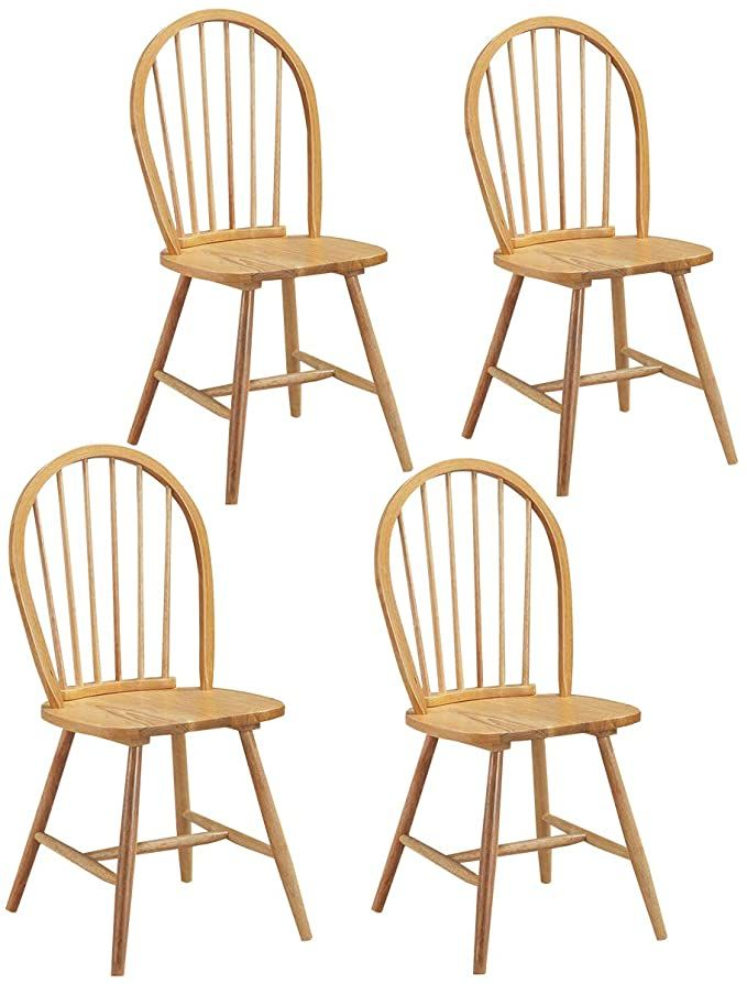 Amazon Com Giantex Wood Dining Chairs Set Of 4 Windsor Chairs With Solid Wood Legs High Spi Wooden Side Chairs Wooden Dining Chairs Farmhouse Dining Chairs Dining chair set of 4