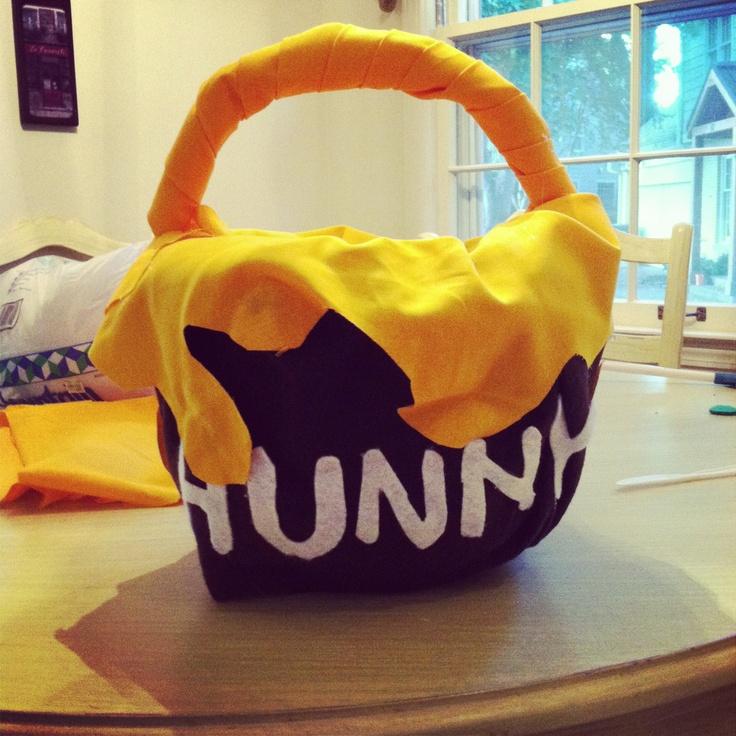 """Hunny"" pot candy bucket for Winnie the Pooh costume - plastic pumpkin bucket, fabric/felt, spray adhesive, quilt batting, and hot glue"