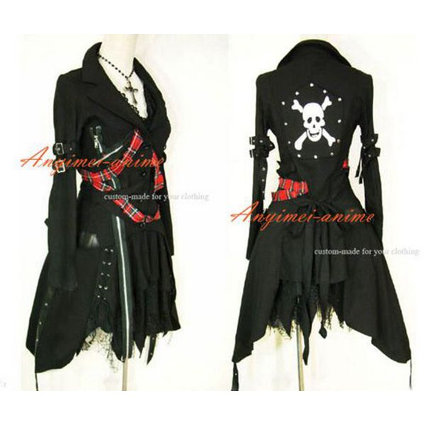 >> Click to Buy << Free Shipping Gothic Lolita Punk Fashion Black Jacket Coat Dress Cosplay Costume Tailor-made #Affiliate