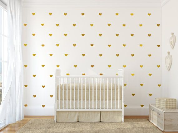 Gold vinyl heart decals  Gold vinyl heart wall decal by Jesabi, $29.00