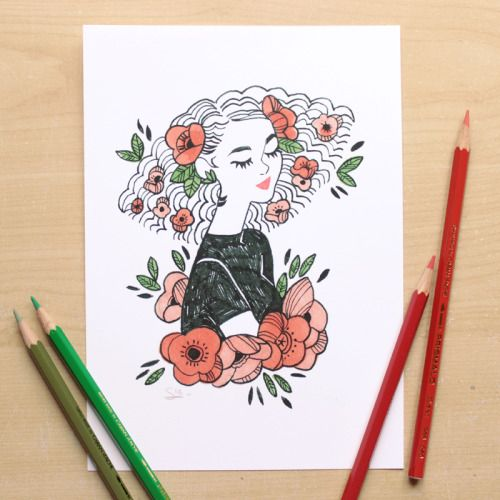 These two prints are available in my shop ! Poppies everywhere :o