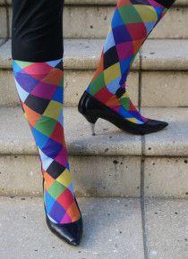Rainbow Harlequin Trouser Socks - buy now from The Asockalypse