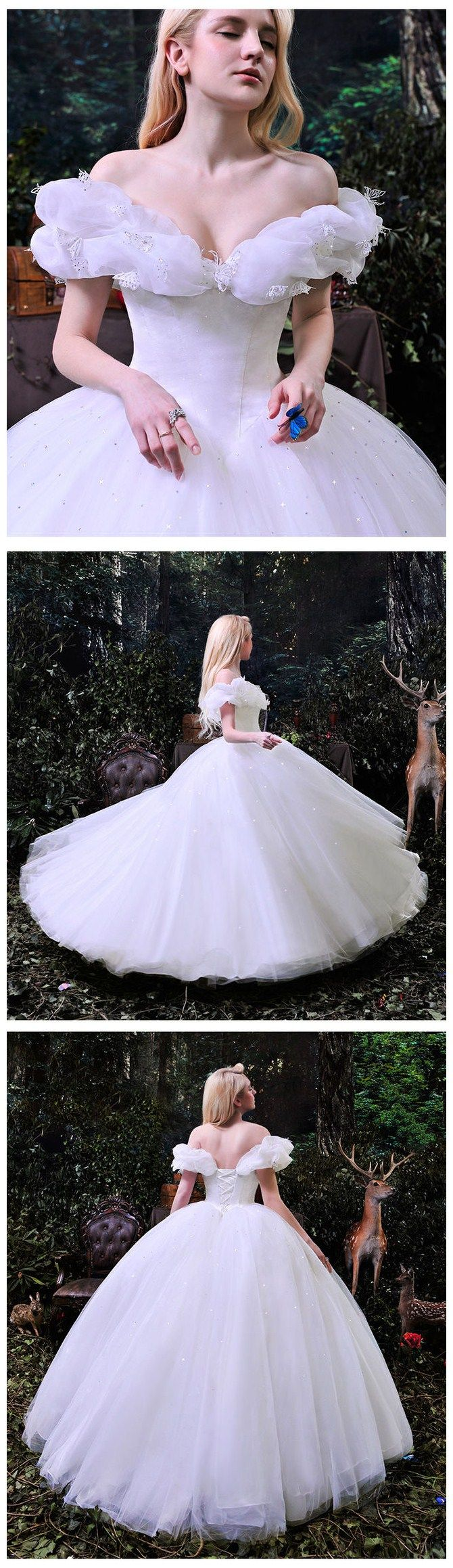 Fairytale Outdoor Princess Boat Neck Open Back Bridal Gowns