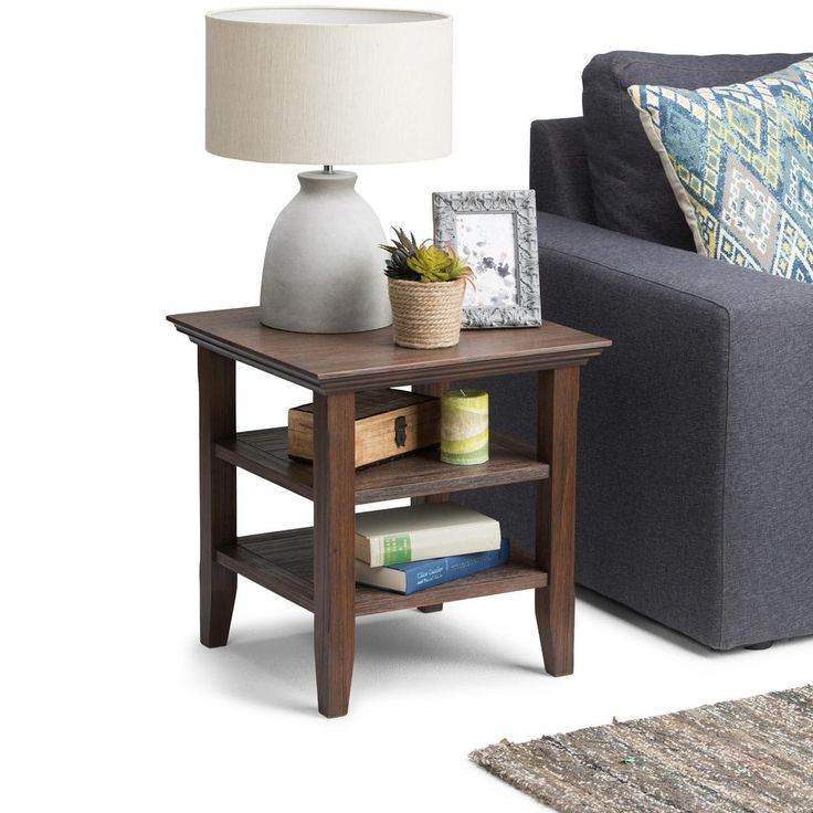 Acadian Farmhouse Brown Storage End Table