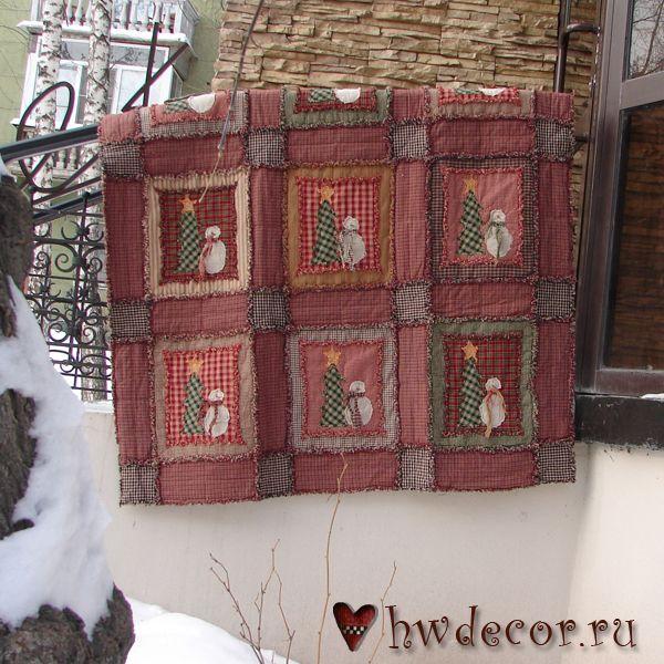Квилт Рождественский снеговик в технике Rag Quilt