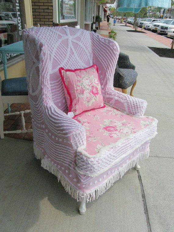 *This is a custom order. I will recreate something similar and fabulous for you...please allow 10-16 weeks for delivery...No refunds on custom orders*  **** MADE TO ORDER**** i will make you a custom slipcovered wingback chair using vintage chenille bedspreads and rose fabric shown . i have many bedspreads in stock and can duplicate this one shown or i can send you link of ones suitable in you color sceme. chair price shown includes chair and slipcover with fringe trim and pillow as shown…