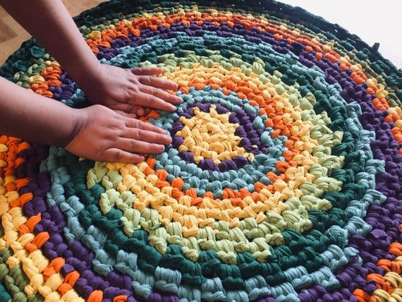 Colorful Round Rug Yellow Length 25 Inches Width 25 Inches Diameter 25 Inches This Rug Will Create An Atmosphere Of Rag Rug Bohemian Carpets Crochet Rag Rug