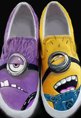 Despicable Me 2  Good VS Evil Minion. Custom Painted Shoes.  Purple and Yellow Minions UNITE on Etsy, $119.00