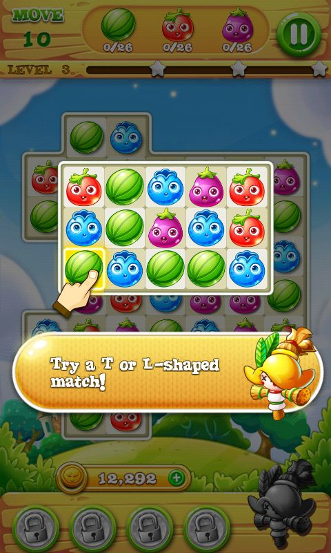 Garden Mania 2 by Ezjoy - Action Phase Tutorial - Match 3 Game - iOS Game - Android Game - UI - Game Interface - Game HUD - Game Art