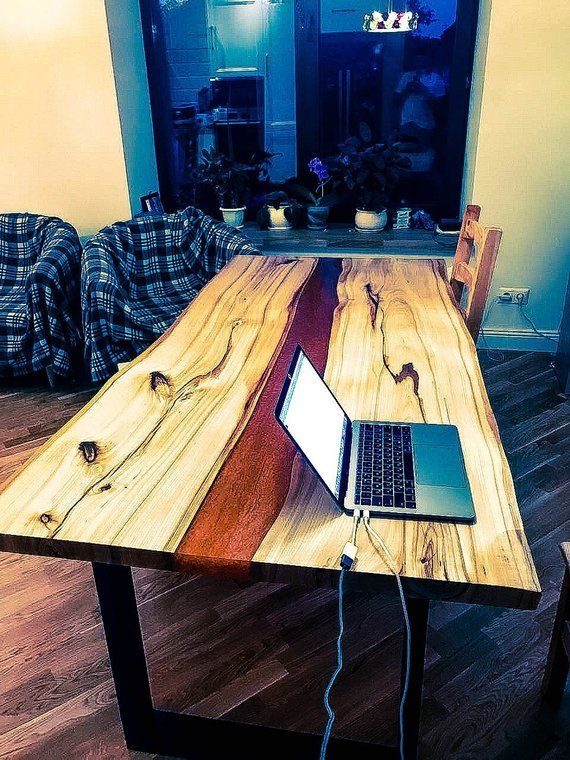 Sold Epoxy Resin Dining Solid Wood Magma River Table Desk Live