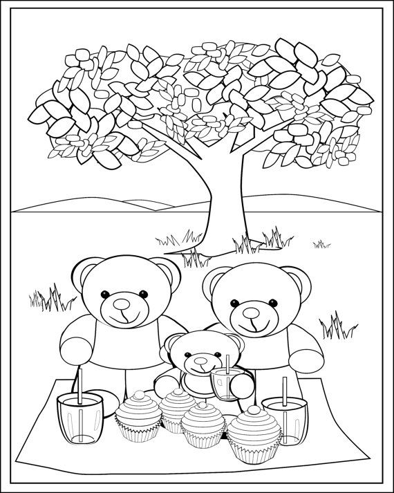 Fun Teddy Bear Picnic Colouring Page for Kids. Print and