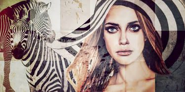 ZEBRA LADY - print on canvas, limited Edition 199