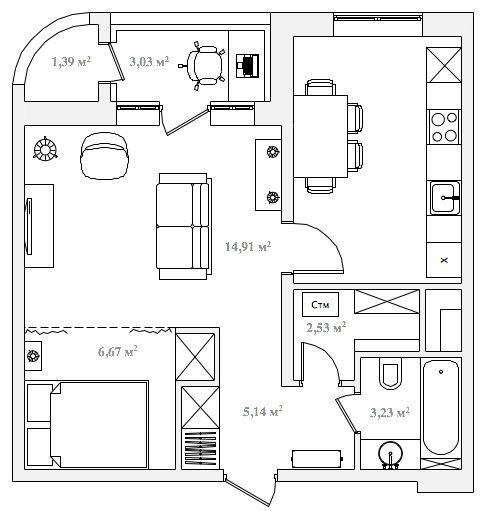 Дизайн однокомнатной квартиры +7 (495) 960 90 29: Делаем из большой однокомнатной квартиры двухкомнатную, 50 кв.м.