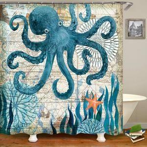 sea worldl Style Pattern Bathroom Shower Curtain – Душ в ванной