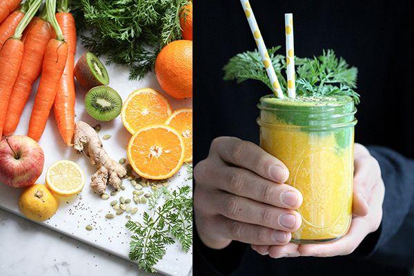 Oster-Karotten-Smoothie! Von der Blattspitze bis zur Wurzel kommt in diesem leckeren Smoothie die gesamt Karotte ins Glas, mit all ihrer Nährstoffpower!