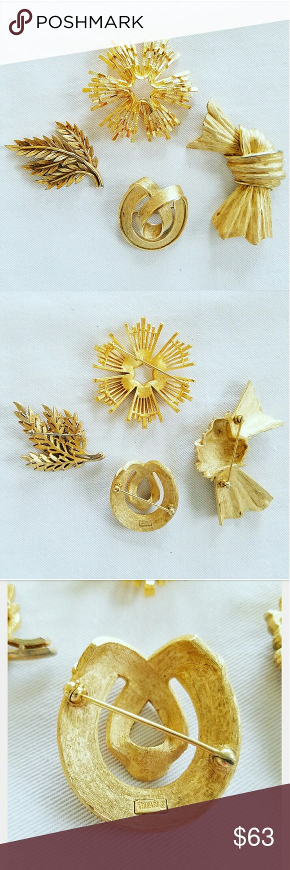 """Set of 4 Vintage Gold Crown Trifari Brooches Trifari used a Crown Symbol over the """"T"""" as a logo on most of the pieces produced from the 1940s through the 1960s. In 1955 Trifari started using the copyright symbol in its signature. Pieces of that era will have both the Crown and Copyright symbols in the signature, which was used in the late 1950s to late 1960s. Many of the most highly sought after vintage Trifari pieces have this signature, called """"CROWN TRIFARI."""" All in excellent condition…"""