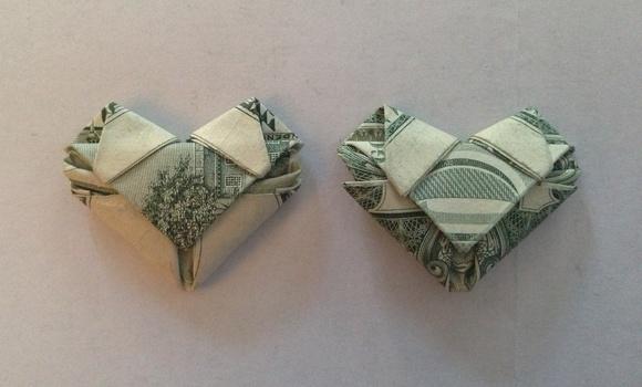 Fold Dollar/any Bill Into a Heart - Origami