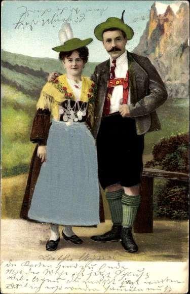Präge Material Ansichtskarte / Postkarte Bayrisches Paar in Bauerntrachten, Dirndl, L... | akpool.de