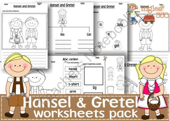 Hansel and Gretel worksheets pack from Ingles360 on TeachersNotebook.com -  (30 pages)  - Worksheets are an easy tool to practice language skills like writing and new words recognition as well as a good way to reinforce learning areas that still need a little work like math, phonics, writing, reading.